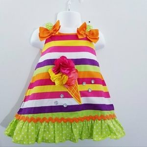 Sweet Heart Rose Rainbow icecream dress 12M